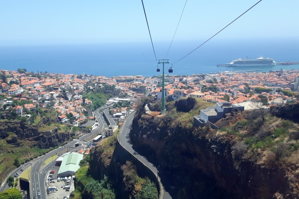 A view on the Funchal Bay from the cable car. A cruise ship is a reference for our hotel.